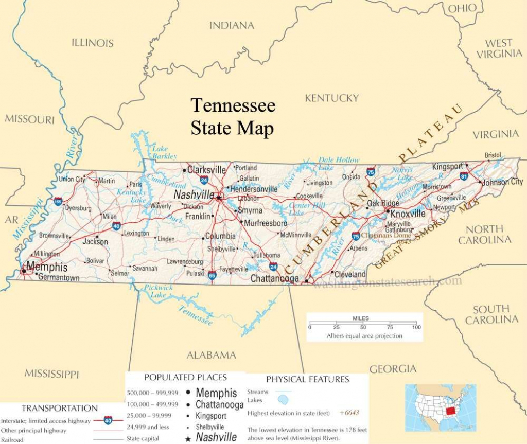 Tennessee Pictures | Tennessee State Map - A Large Detailed Map Of throughout State Map Of Tennessee Printable
