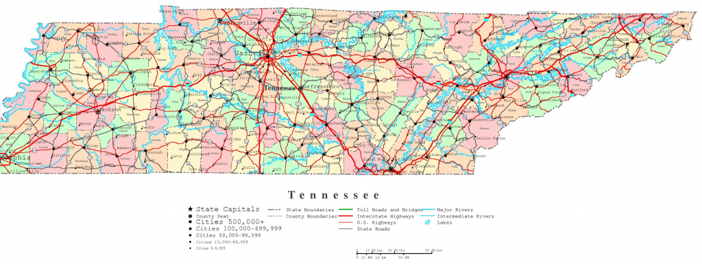 Tennessee Printable Map with Printable Map Of Tennessee