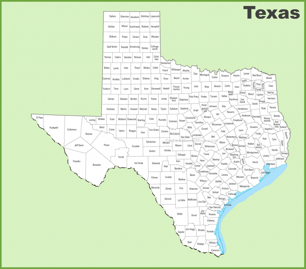 Texas County Map pertaining to Printable Map Of Texas