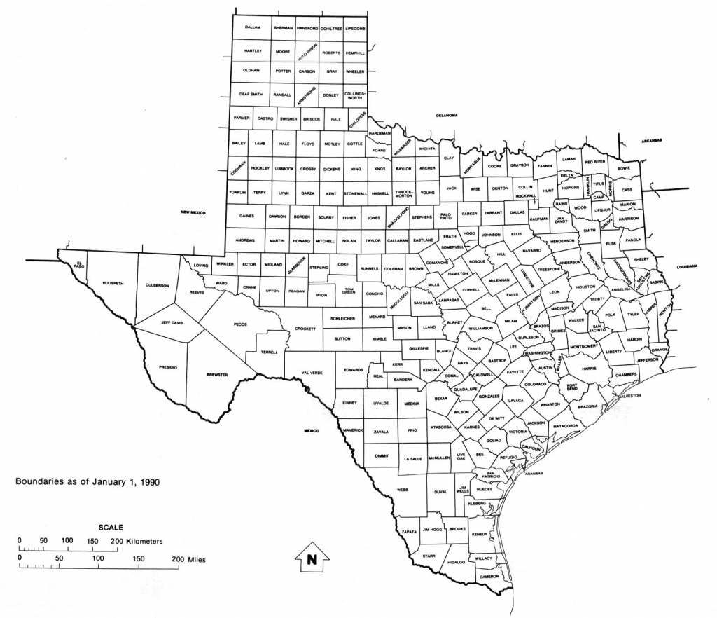 Texas State Map With Counties Outline And Location Of Each County In throughout Printable State Maps With Counties