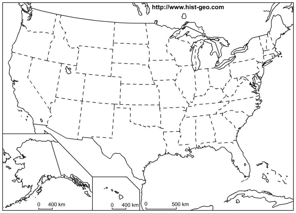 That Blank School Map Displaying The 50 States Of The United States with regard to Blank Us Map With Capitals Printable