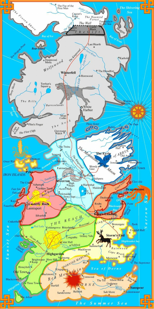 The Best Printable Map Of Westeros. Not Too Detailed To Print On One for Game Of Thrones Printable Map