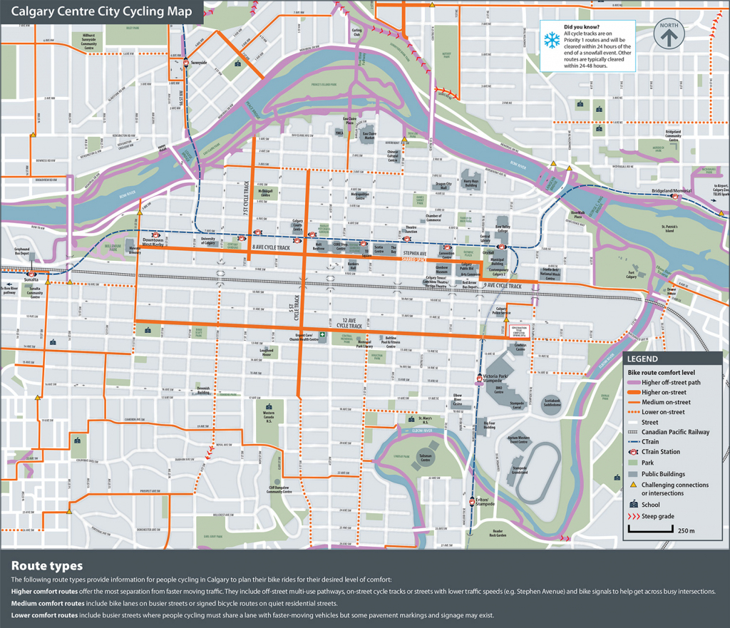 The City Of Calgary - Cycling And Walking Route Maps for Printable Map Of Downtown Calgary