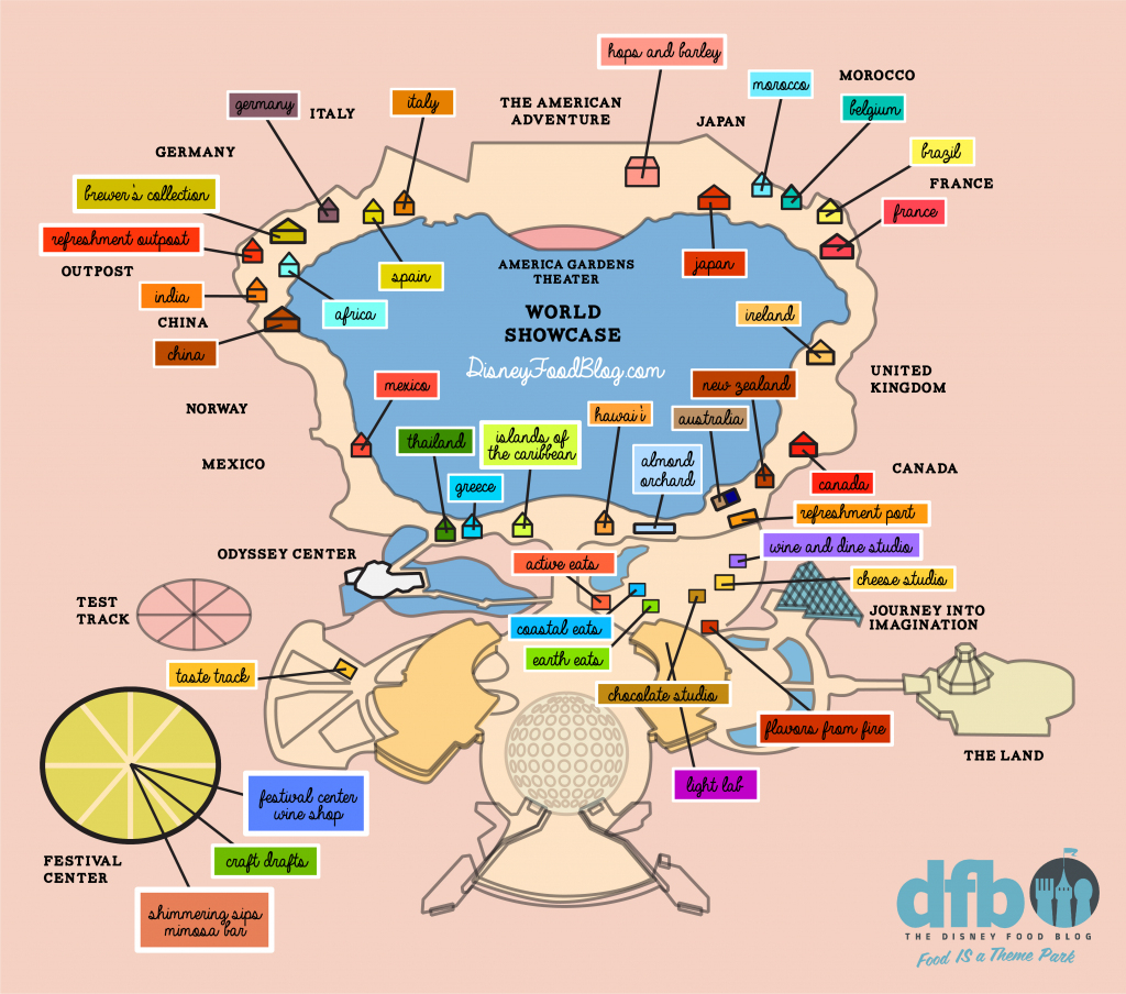 The Disney Food Blog 2018 Epcot Food And Wine Festival Map! | The intended for Printable Epcot Map 2017