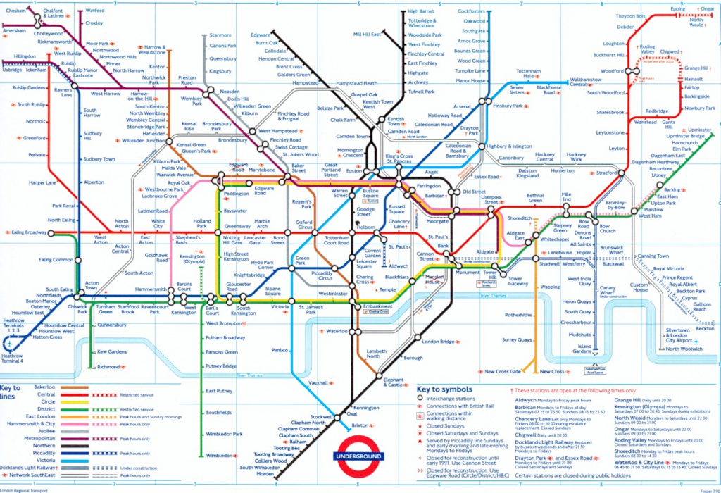 The London Tube Map Archive for London Underground Map Printable A4