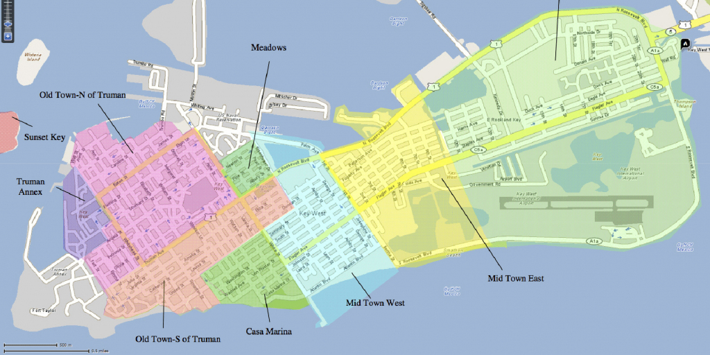 The Neighborhoods Of Key West | Historic Key West Vacation Rentals for Key West Street Map Printable