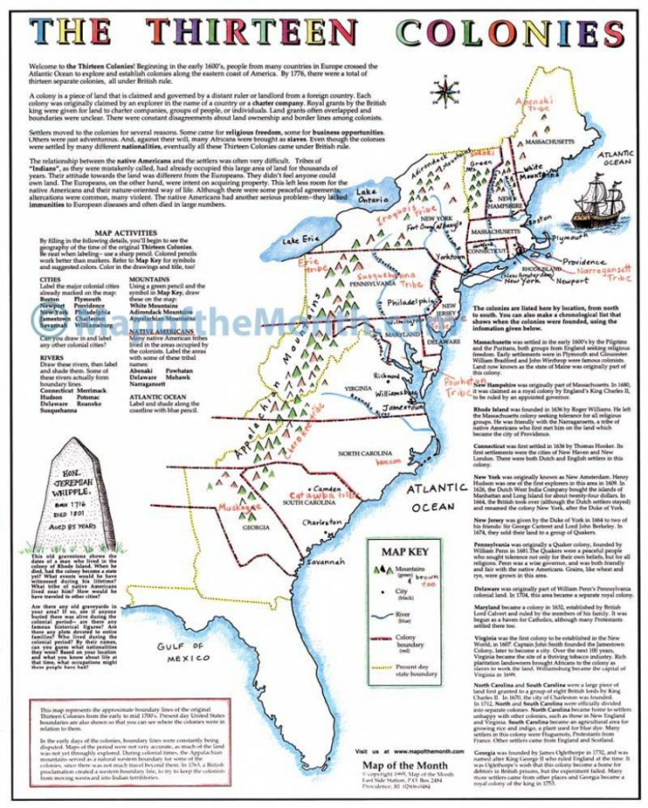 Map Of The Thirteen Colonies Printable