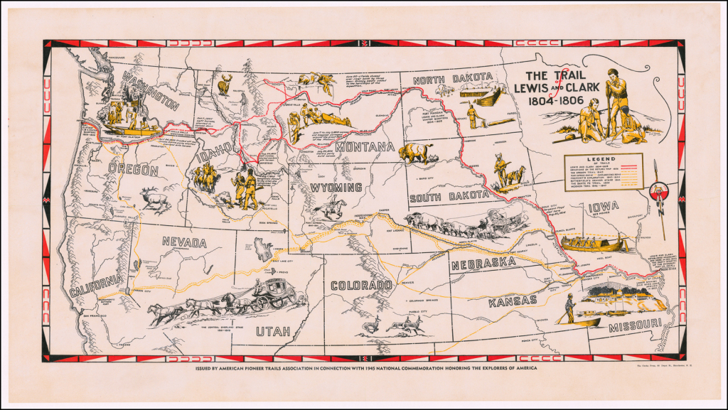 The Trail Of Lewis And Clark 1804 - 1806 - Barry Lawrence Ruderman for Lewis And Clark Expedition Map Printable