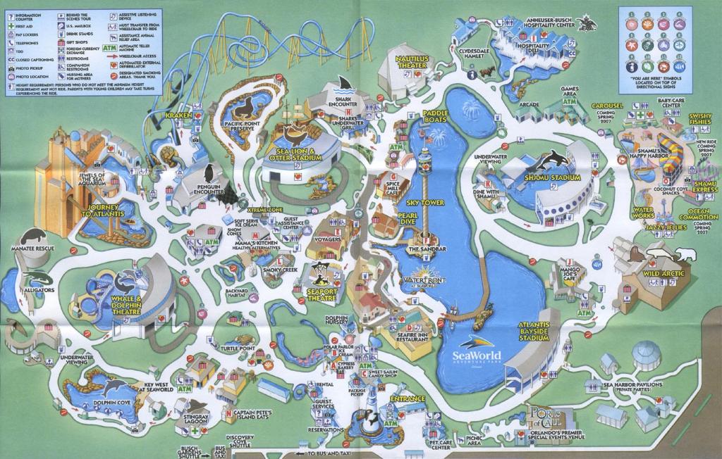 Theme Park Brochures Sea World Orlando - Theme Park Brochures intended for Seaworld Orlando Map Printable