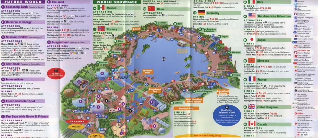 Theme Park Brochures Walt Disney World Epcot - Theme Park Brochures within Epcot Park Map Printable