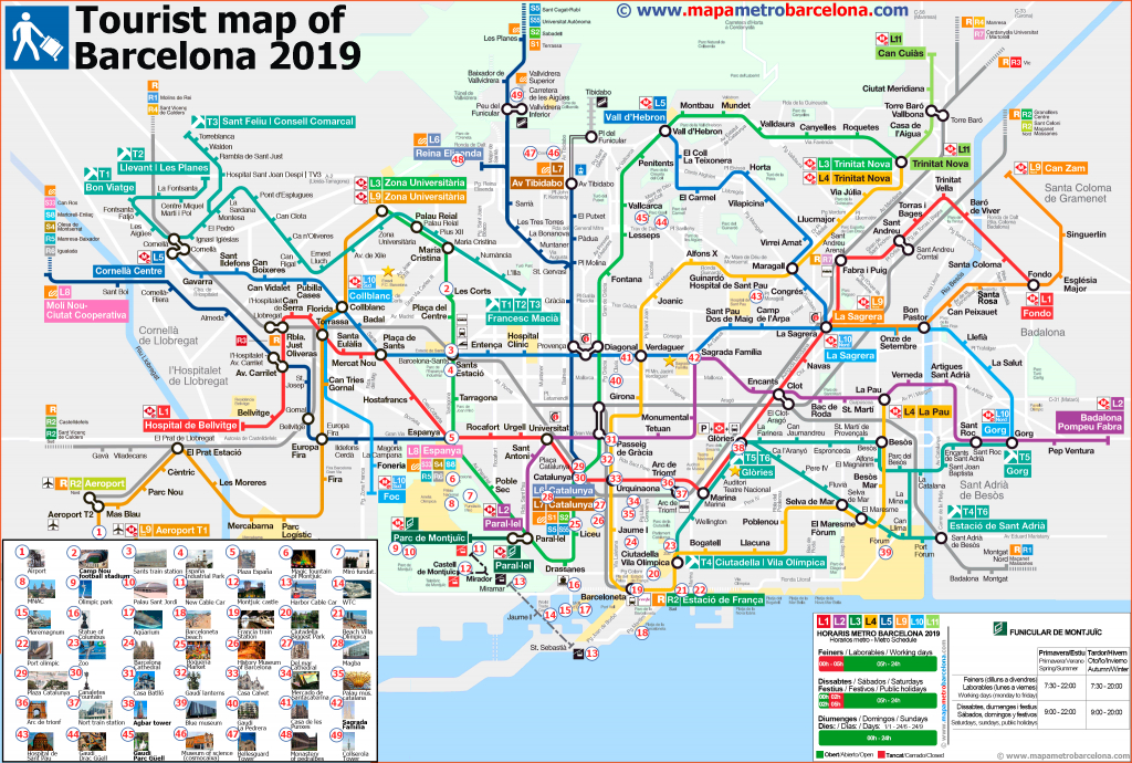 Tourist Map Of Barcelona, 49 Important Places For Tourists. within Printable Map Of Barcelona