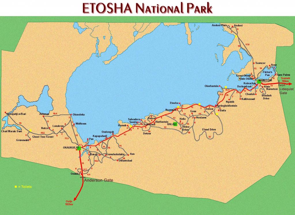 Tourist Maps Of Namibia pertaining to Printable Road Map Of Namibia