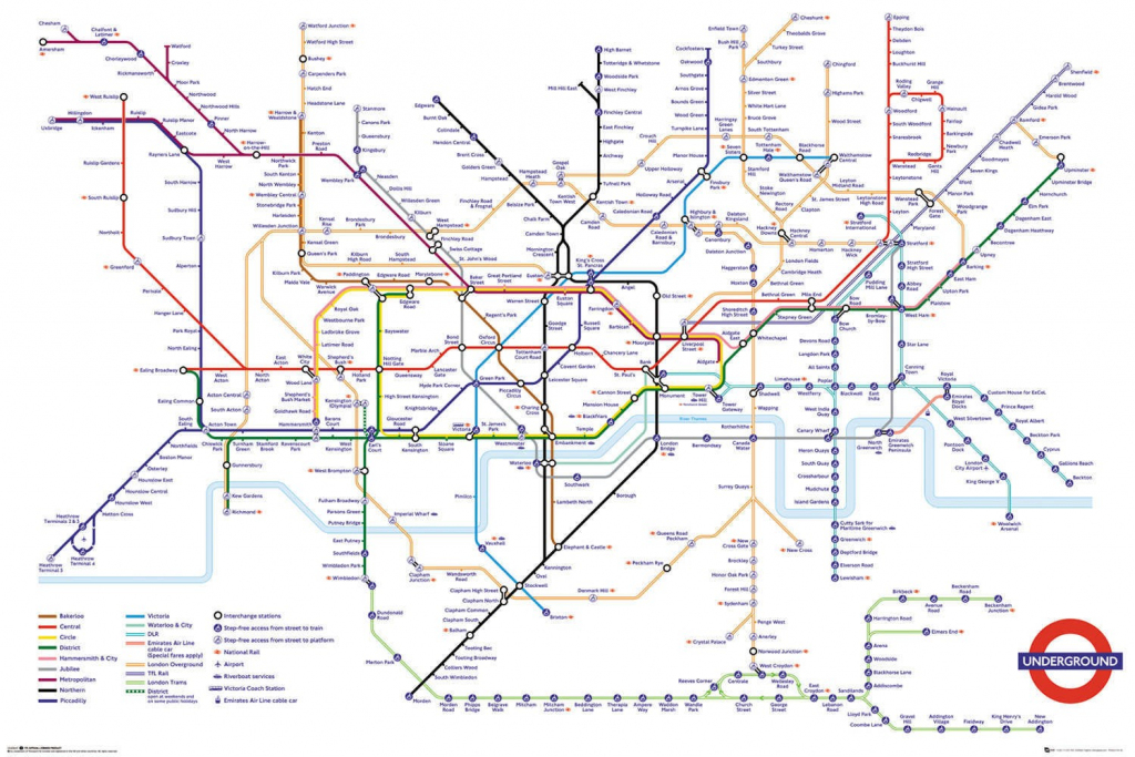 Transport For London Underground Map Maxi Poster throughout London Underground Map Printable A4