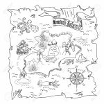 Treasure Island Map Kids Coloring Page Stock Photo, Picture And Intended For Children's Treasure Map Printable