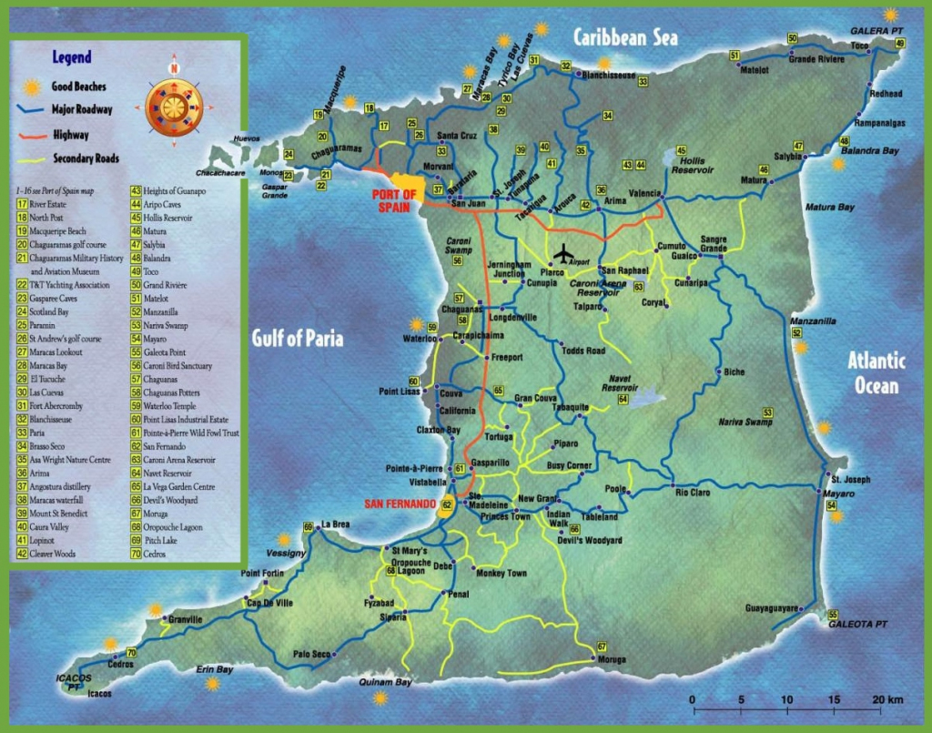 Trinidad Tourist Map within Printable Map Of Trinidad And Tobago