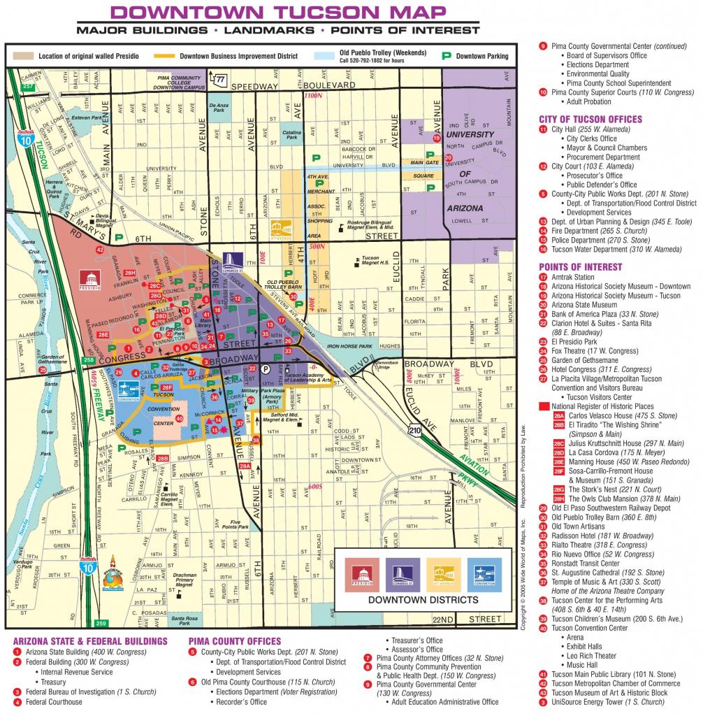 Tucson Downtown Map regarding Printable Map Of Tucson Az