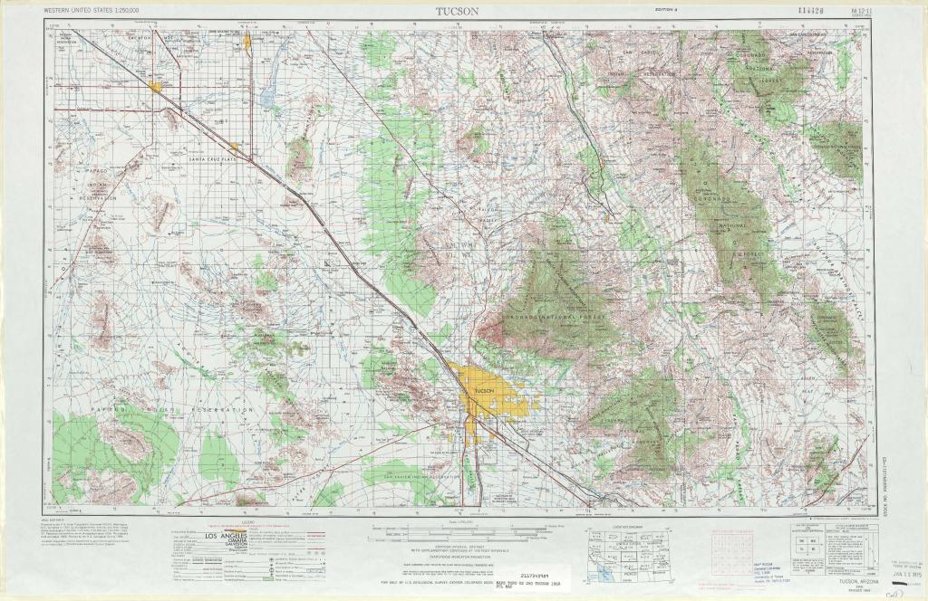Tucson Topographic Maps, Az - Usgs Topo Quad 32110A1 At 1:250,000 Scale within Printable Map Of Tucson Az