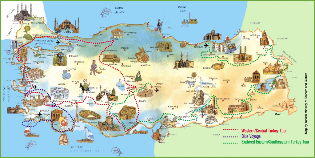 Turkey Attractions Map within Printable Map Of Turkey
