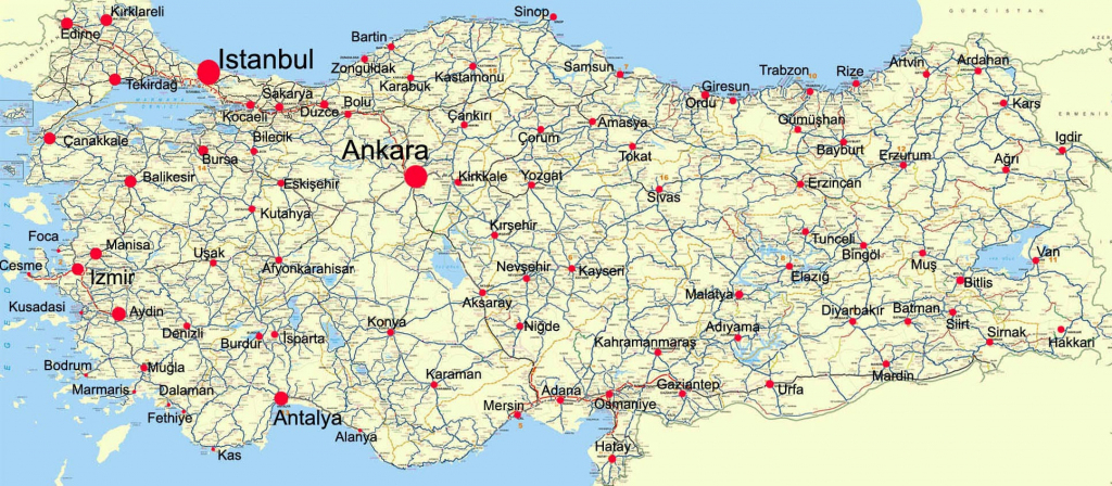 Turkey Maps | Printable Maps Of Turkey For Download intended for Printable Map Of Turkey