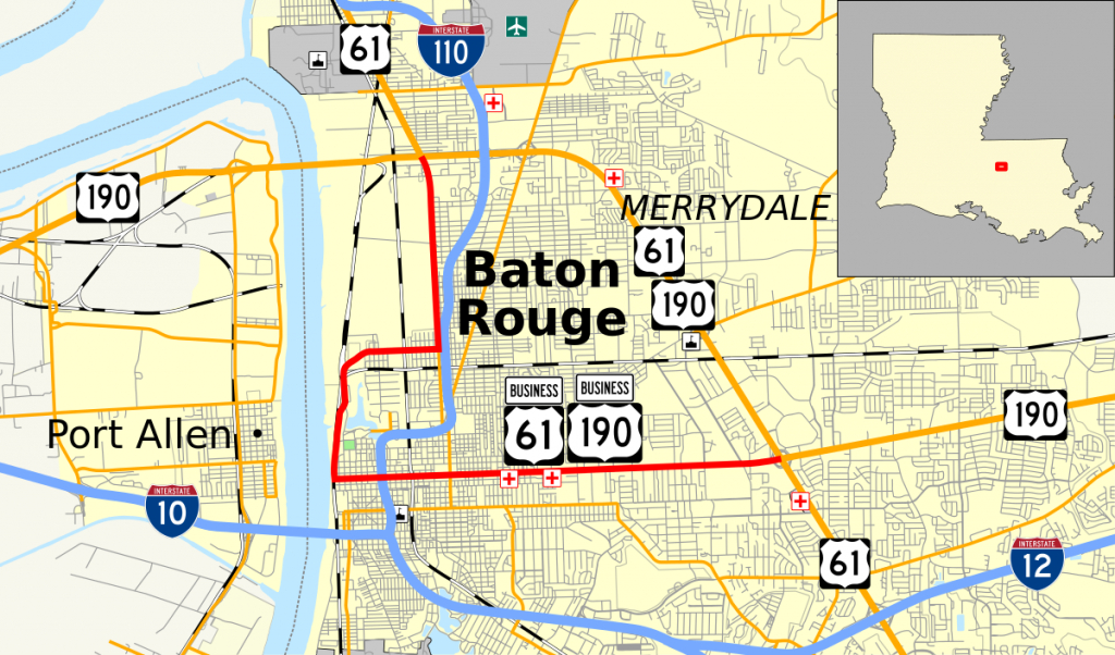 U.s. Route 61/190 Business - Wikipedia within Printable Map Of Baton Rouge