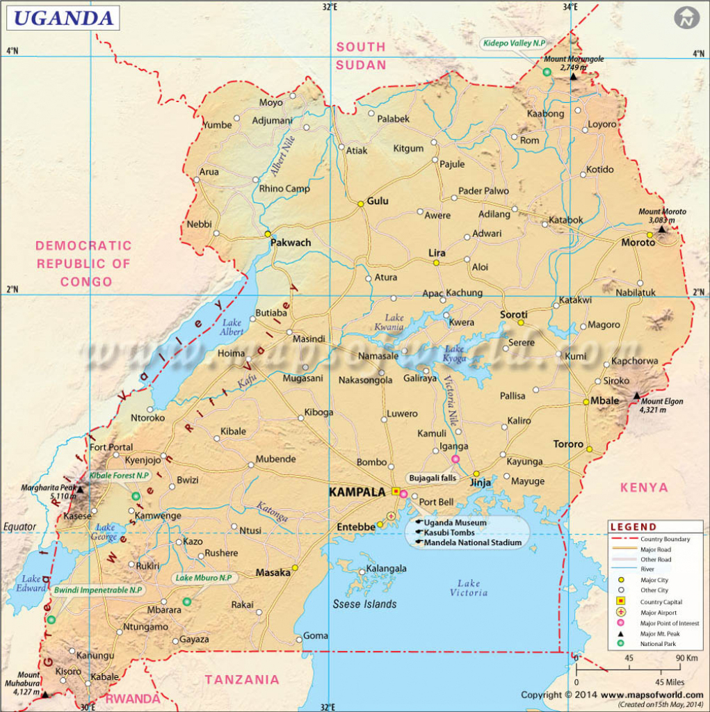 Uganda Map, Map Of Uganda for Printable Map Of Uganda