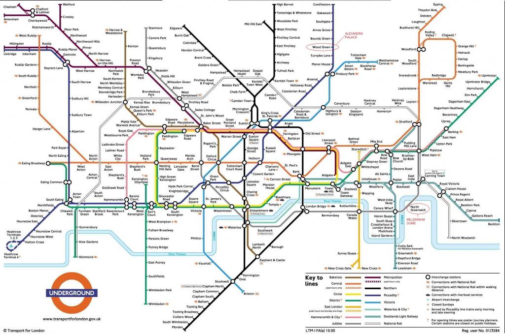 Underground: London Metro Map, England for Printable Map Of The London Underground