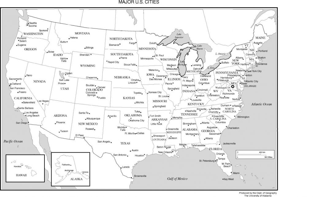 United States Labeled Map for Map Of The United States With States Labeled Printable