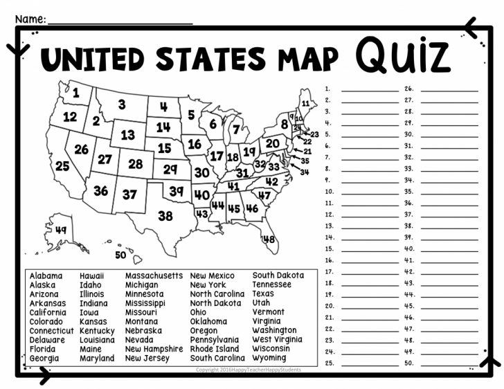 Us State Map Quiz Printable