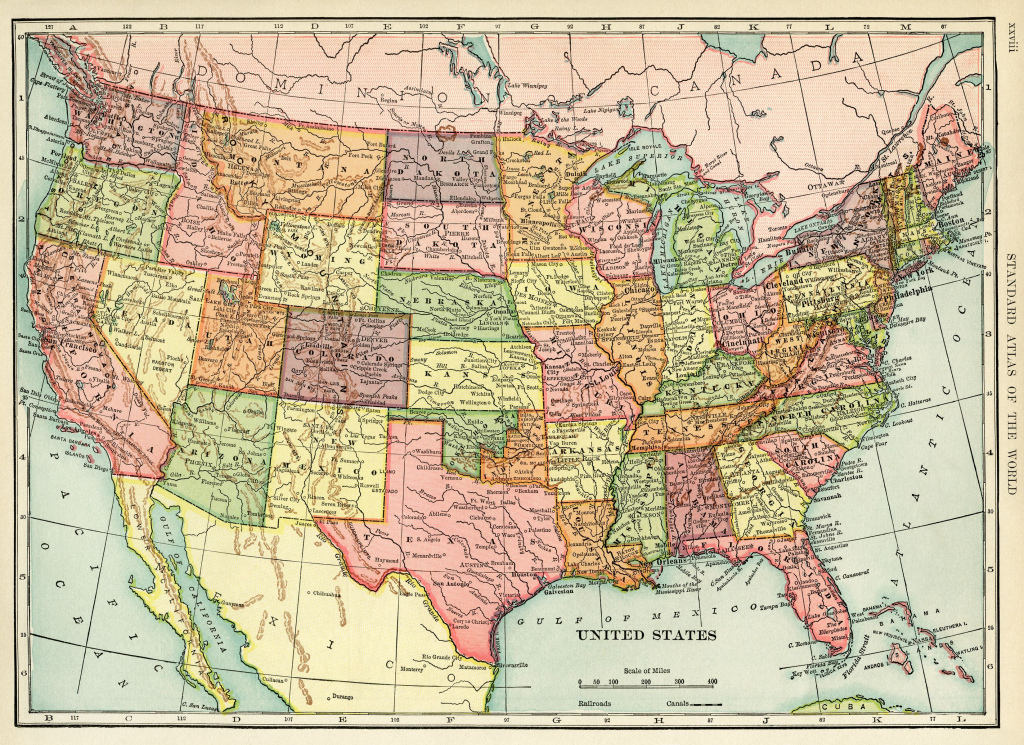 United States Map, Vintage Map Download, Antique Map, History with Free Printable Us Maps State And City