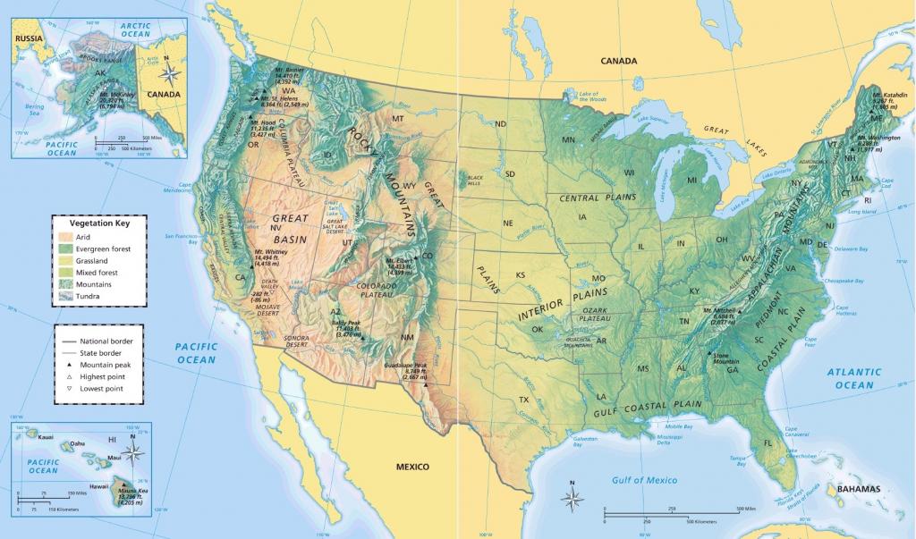 United States Physical Map - Maplewebandpc within Physical Map Of The United States Printable