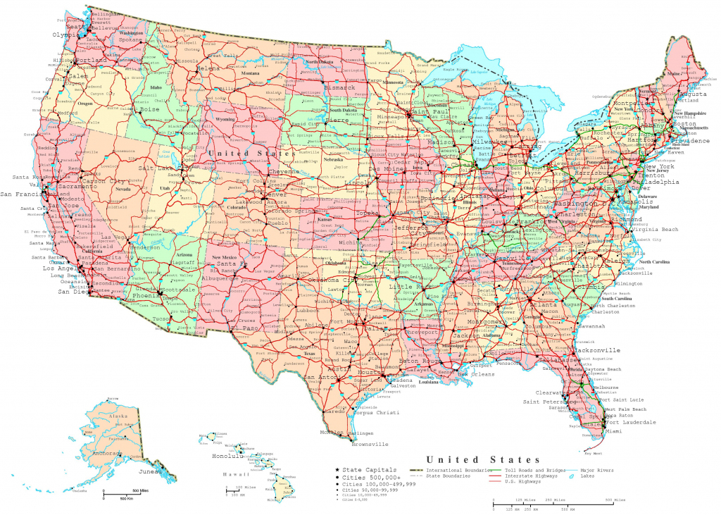United States Printable Map throughout Printable United States Map With Scale