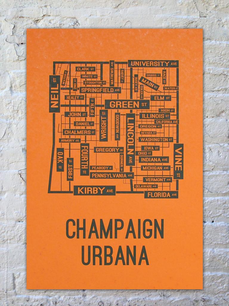 University Of Illinois Champaign-Urbana Fighting Illini Poster Print with regard to Printable Map Of Champaign Il