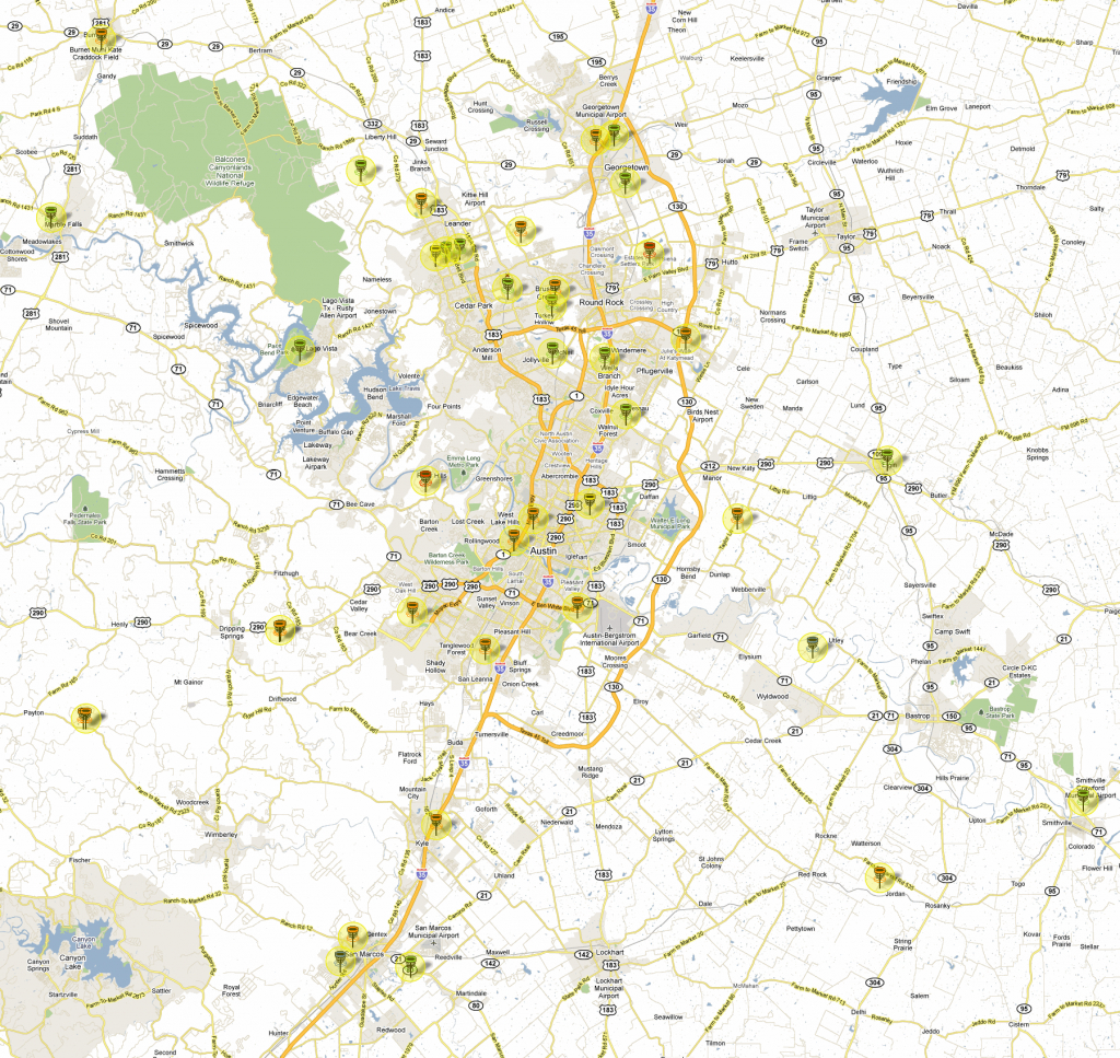 Updated Disc Golf Map For Greater Austin Area - Disc Golf Course Review intended for Printable Map Of Austin