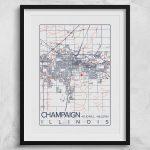 Urbana Champaign Illinois Map University Of Illinois Print City With Printable Map Of Champaign Il