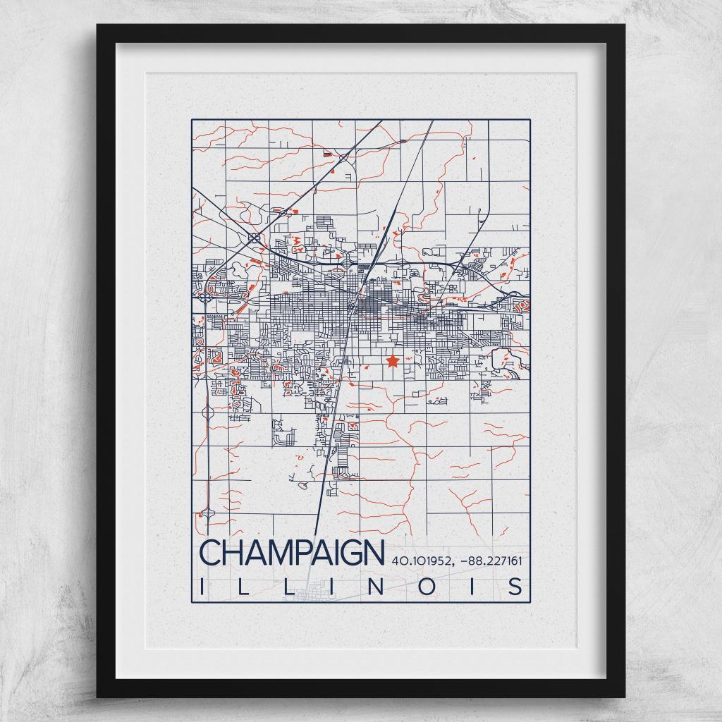 Urbana-Champaign Illinois Map University Of Illinois Print City with Printable Map Of Champaign Il