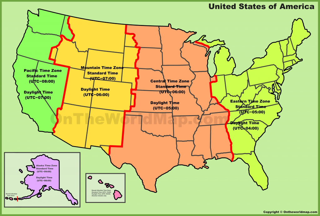 Us Time Zones Printable Map World Time Zone Map In Of Timezones inside Printable Us Time Zone Map With Cities