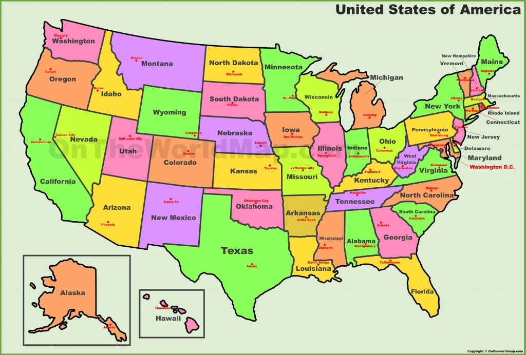 Usa States And Capitals Map intended for Printable Us Map With States And Capitals