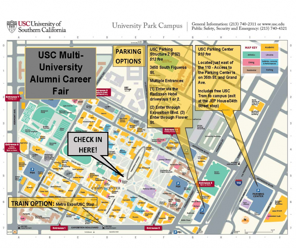 Usc Multi-University Alumni Career Fair Parking Map | Career Center intended for Usc Campus Map Printable