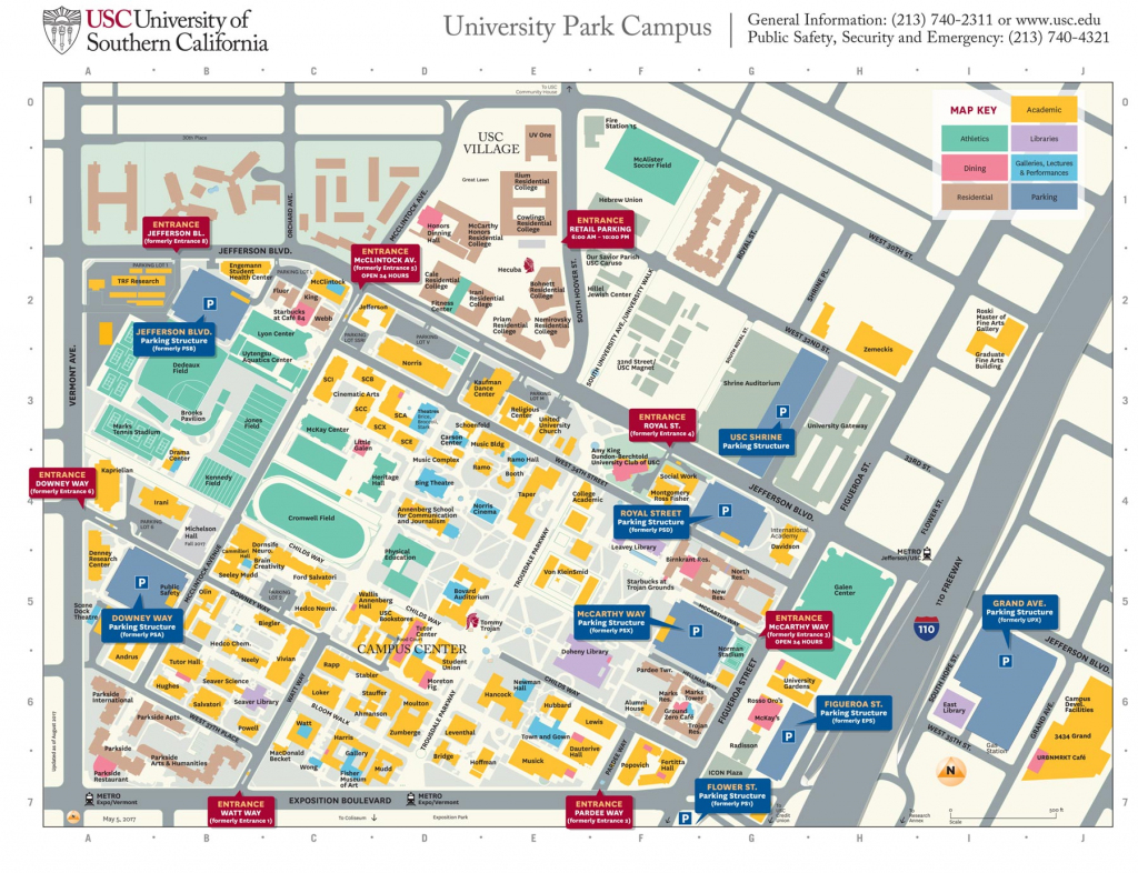 Usc University Park Campus Parking Structures, Entrances Get New for Usc Campus Map Printable