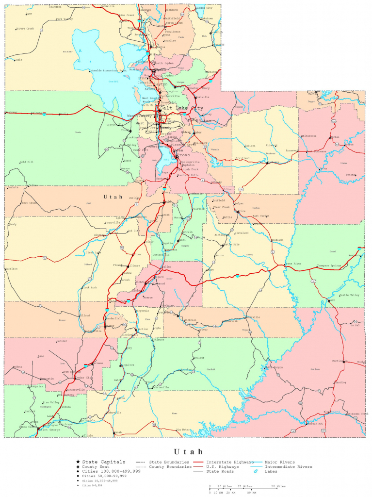 Utah Printable Map in Printable Map Of Utah