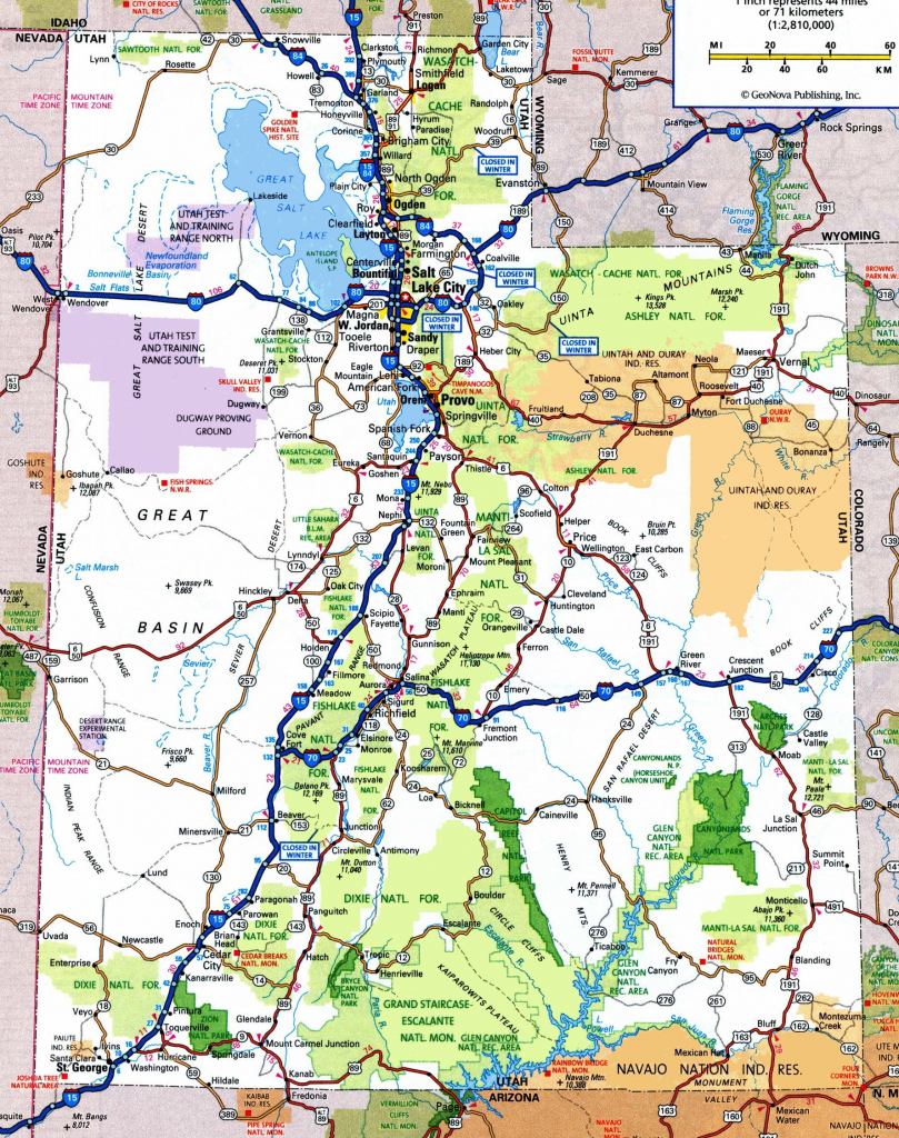 Utah Road Map in Printable Map Of Utah National Parks