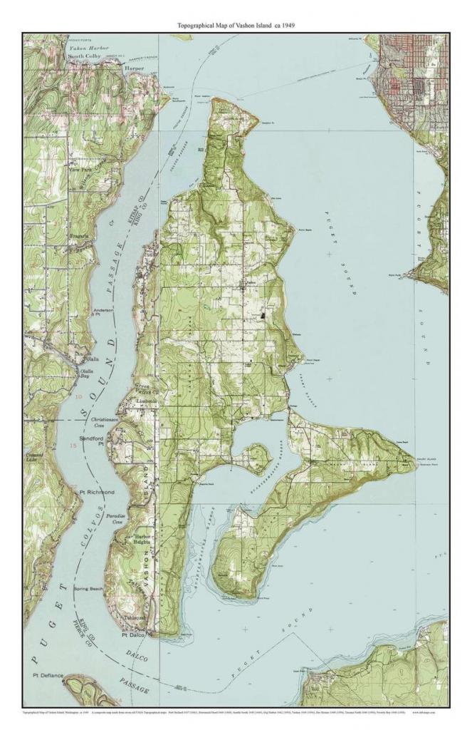 Vashon Island Ca. 1949 Usgs Old Topographic Map Custom | Etsy in Vashon Island Map Printable