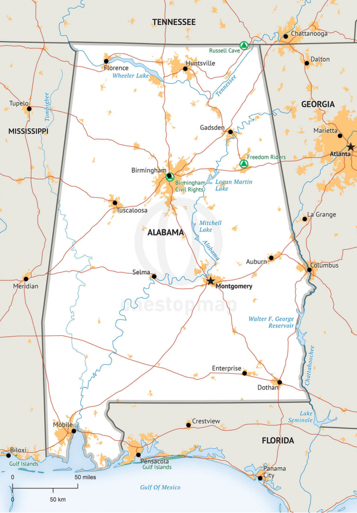 Vector Map Of Alabama Political | One Stop Map throughout Printable Map Of Alabama