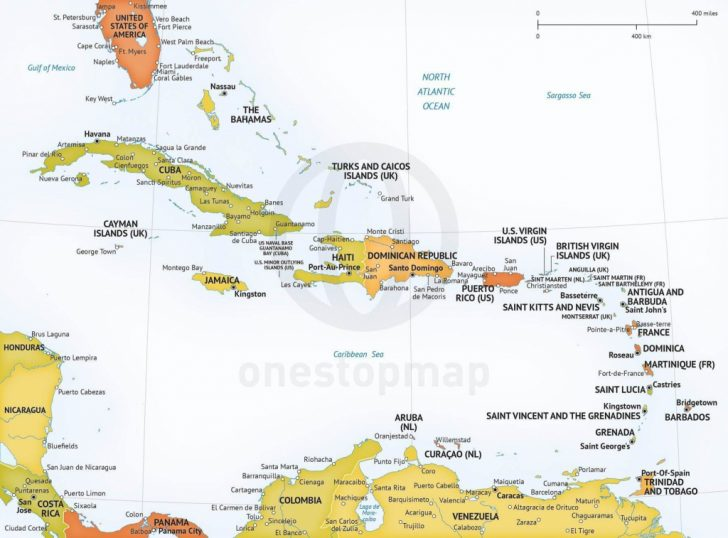 Printable Map Of The Caribbean