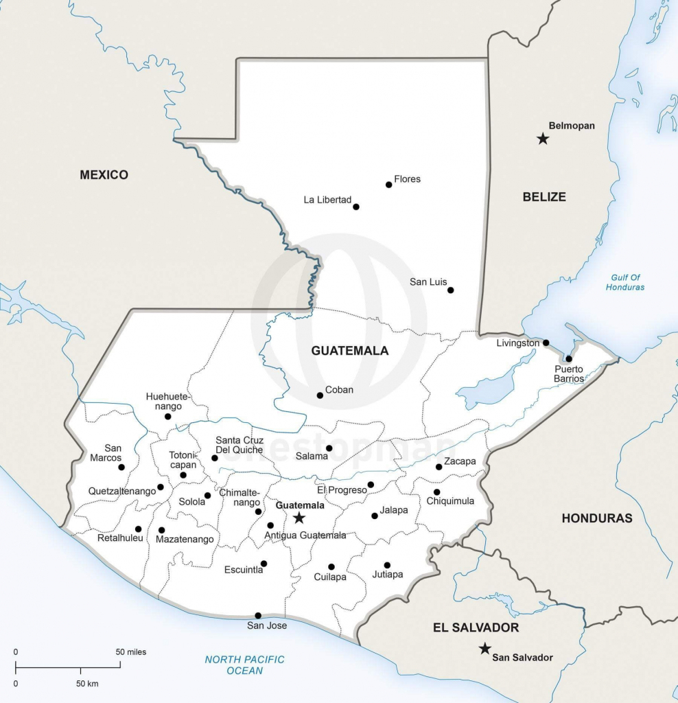 Vector Map Of Guatemala Political | One Stop Map within Printable Map Of Guatemala