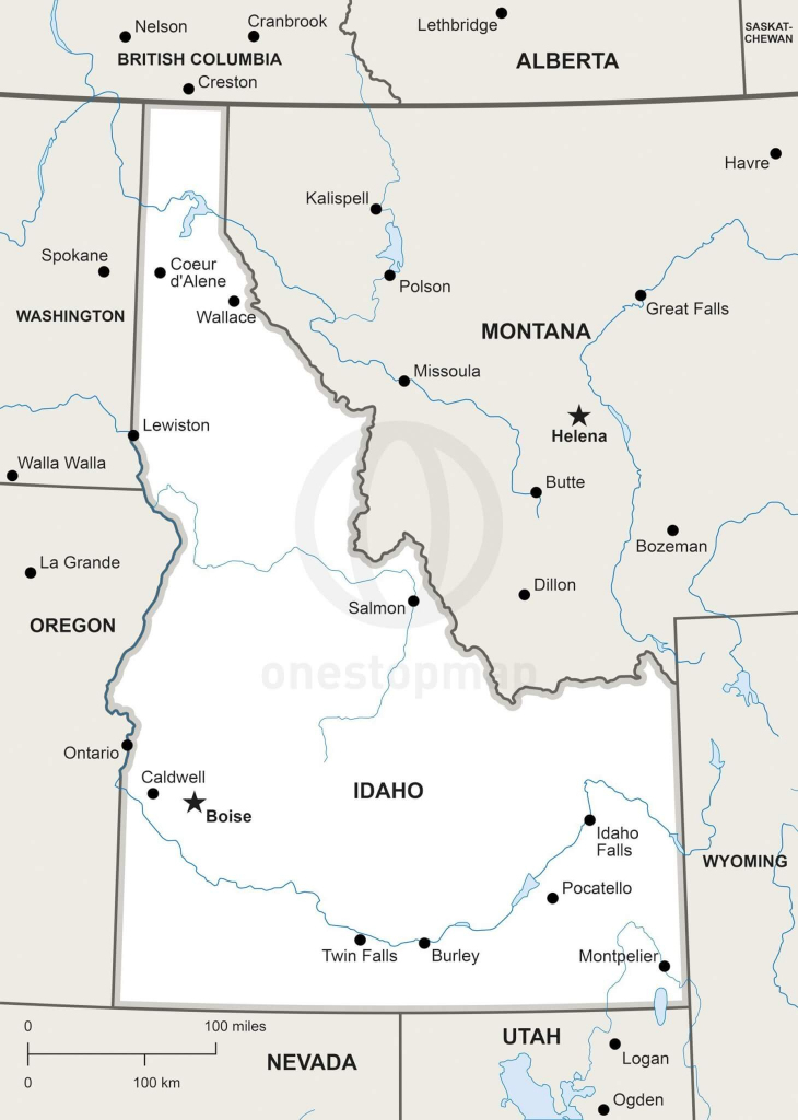 Vector Map Of Idaho Political | One Stop Map inside Printable Map Of Idaho