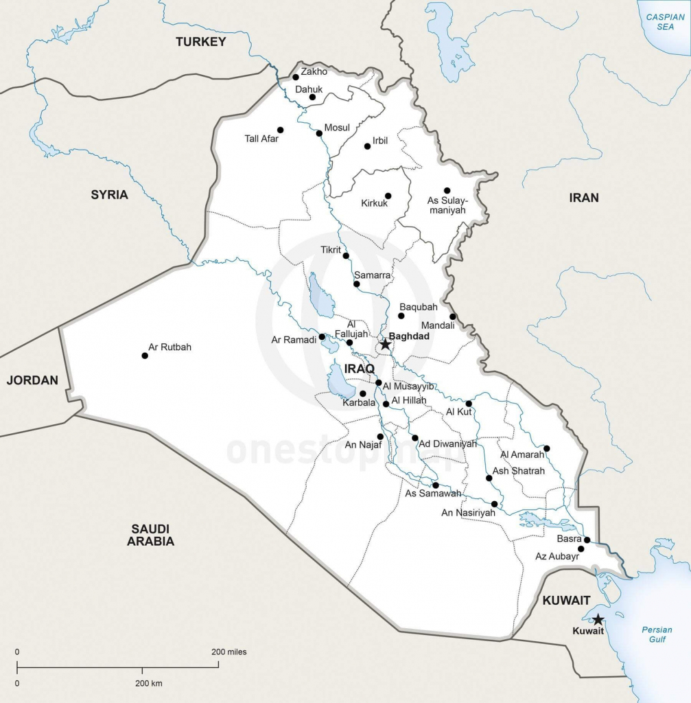 Vector Map Of Iraq Political | One Stop Map with regard to Printable Map Of Iraq
