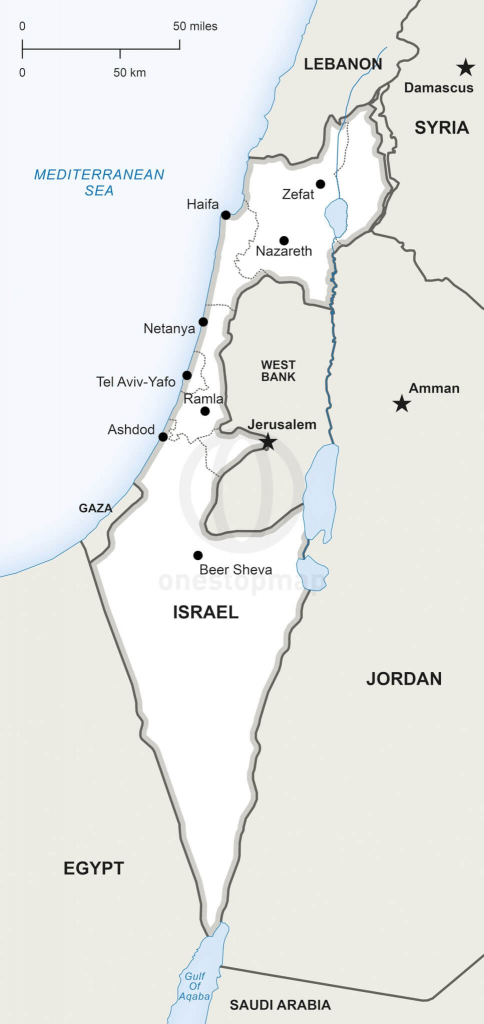 Vector Map Of Israel Political   One Stop Map for Free Printable Map Of Israel
