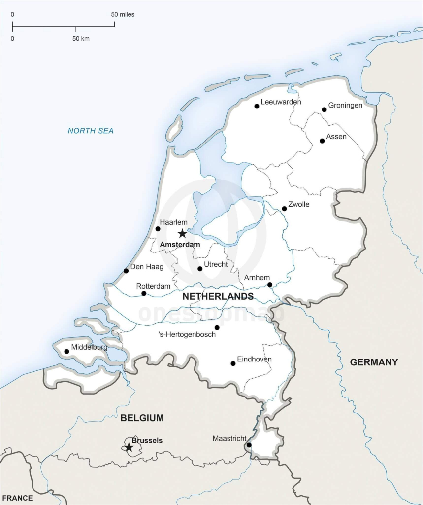 Vector Map Of Netherlands Political | One Stop Map in Printable Map Of The Netherlands