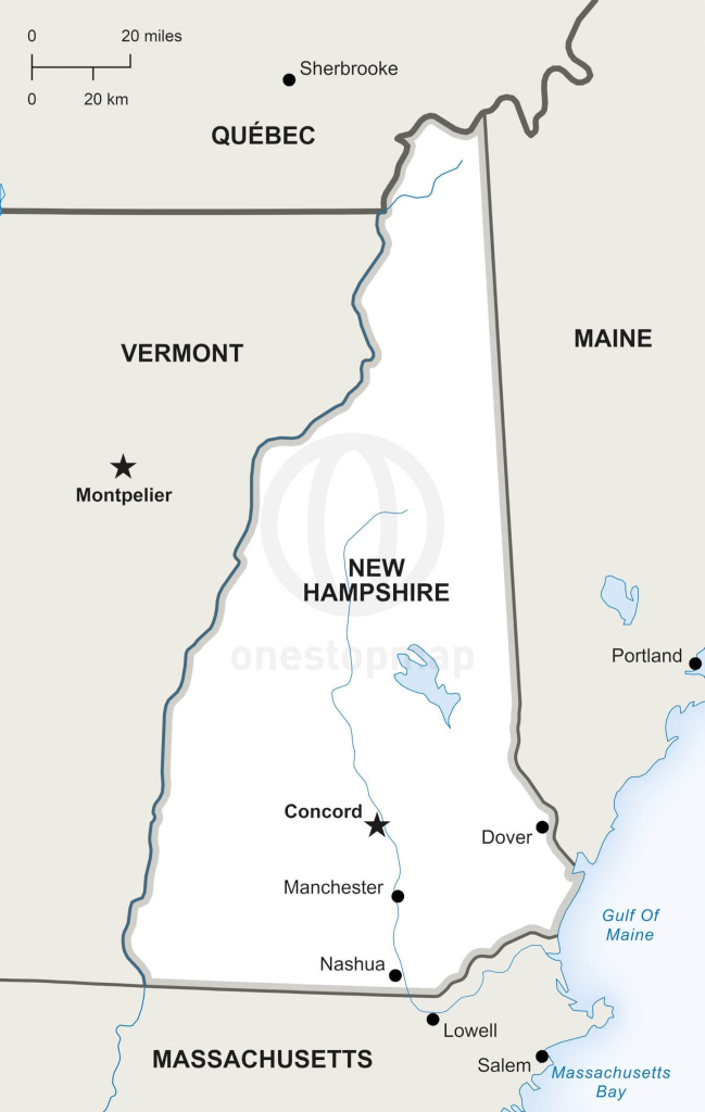 Vector Map Of New Hampshire Political | One Stop Map inside New Hampshire State Map Printable